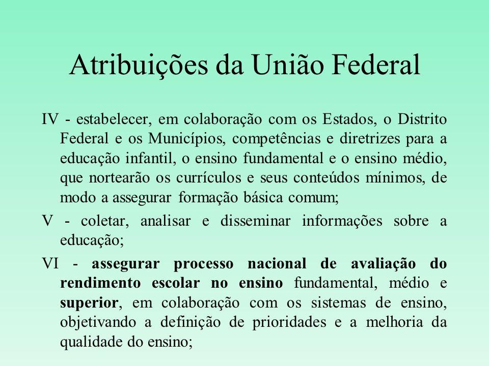 Atribuições da União Federal IV - estabelecer, em colaboração com os Estados, o Distrito Federal e os Municípios, competências e diretrizes para a edu