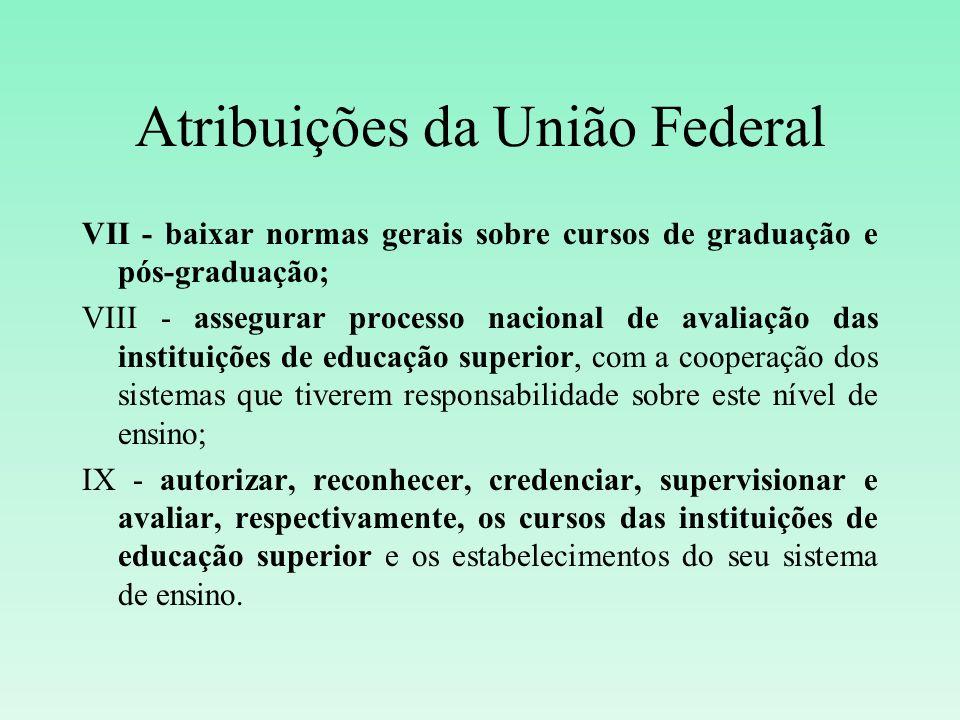 Atribuições da União Federal VII - baixar normas gerais sobre cursos de graduação e pós-graduação; VIII - assegurar processo nacional de avaliação das