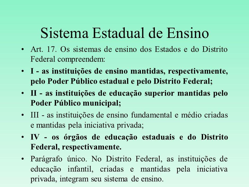 Sistema Estadual de Ensino Art. 17. Os sistemas de ensino dos Estados e do Distrito Federal compreendem: I - as instituições de ensino mantidas, respe