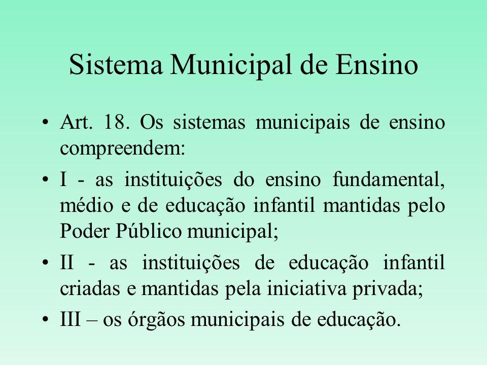 Sistema Municipal de Ensino Art. 18. Os sistemas municipais de ensino compreendem: I - as instituições do ensino fundamental, médio e de educação infa