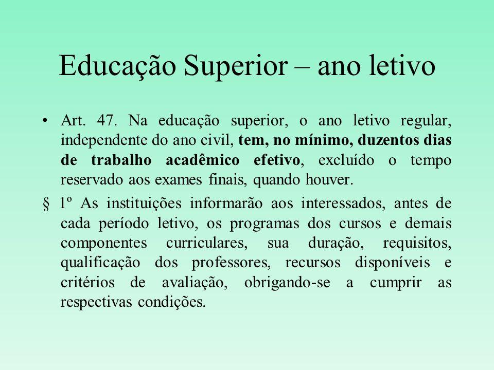 Educação Superior – ano letivo Art. 47. Na educação superior, o ano letivo regular, independente do ano civil, tem, no mínimo, duzentos dias de trabal
