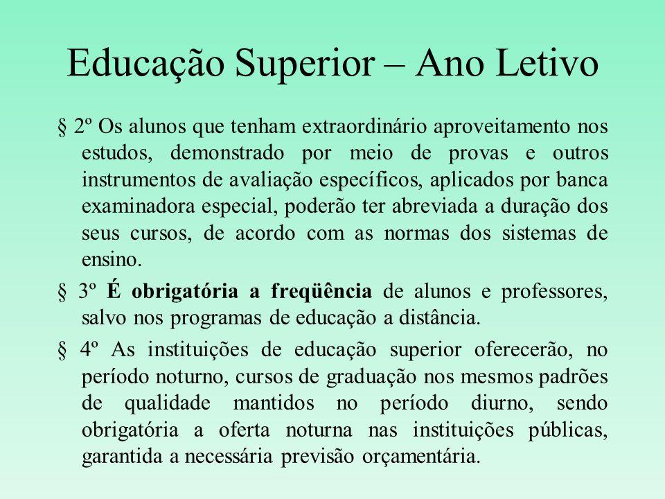 Educação Superior – Ano Letivo § 2º Os alunos que tenham extraordinário aproveitamento nos estudos, demonstrado por meio de provas e outros instrument