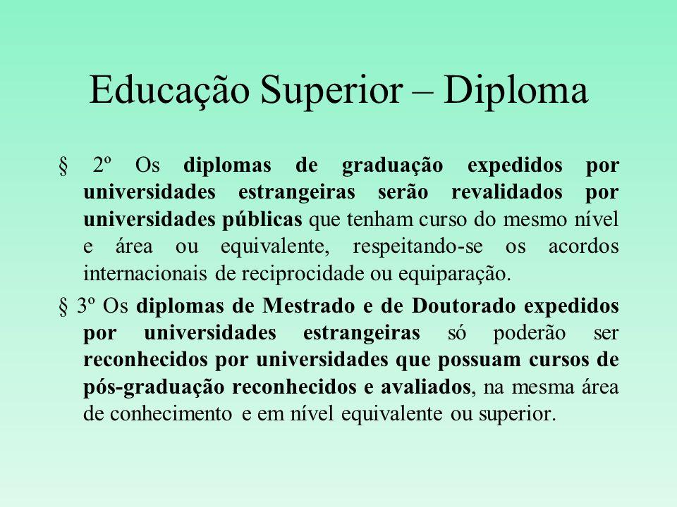 Educação Superior – Diploma § 2º Os diplomas de graduação expedidos por universidades estrangeiras serão revalidados por universidades públicas que te