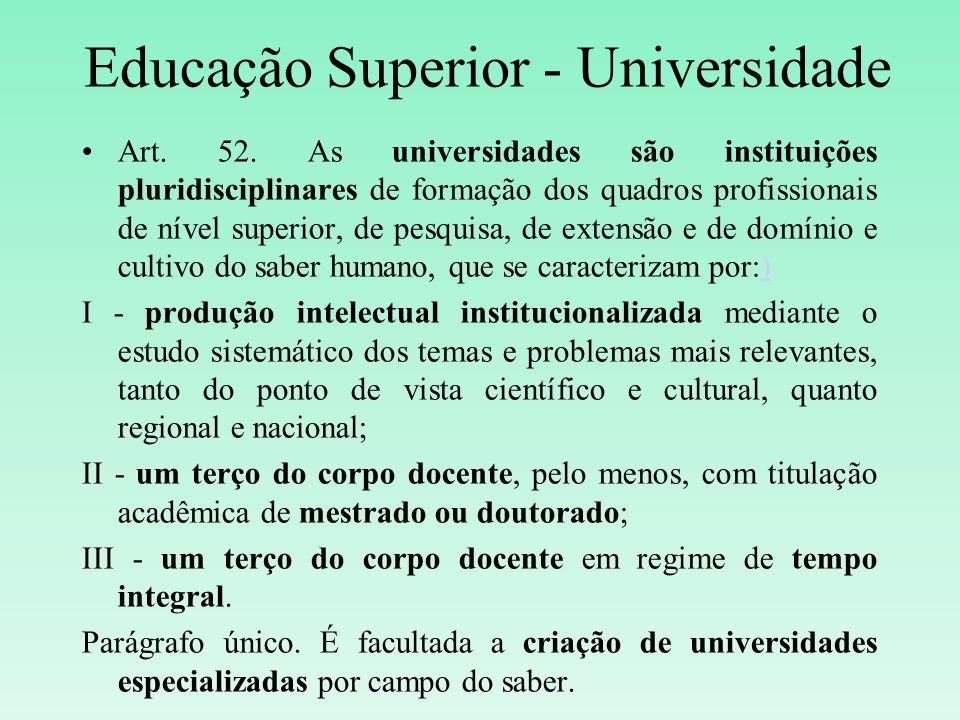 Educação Superior - Universidade Art. 52. As universidades são instituições pluridisciplinares de formação dos quadros profissionais de nível superior