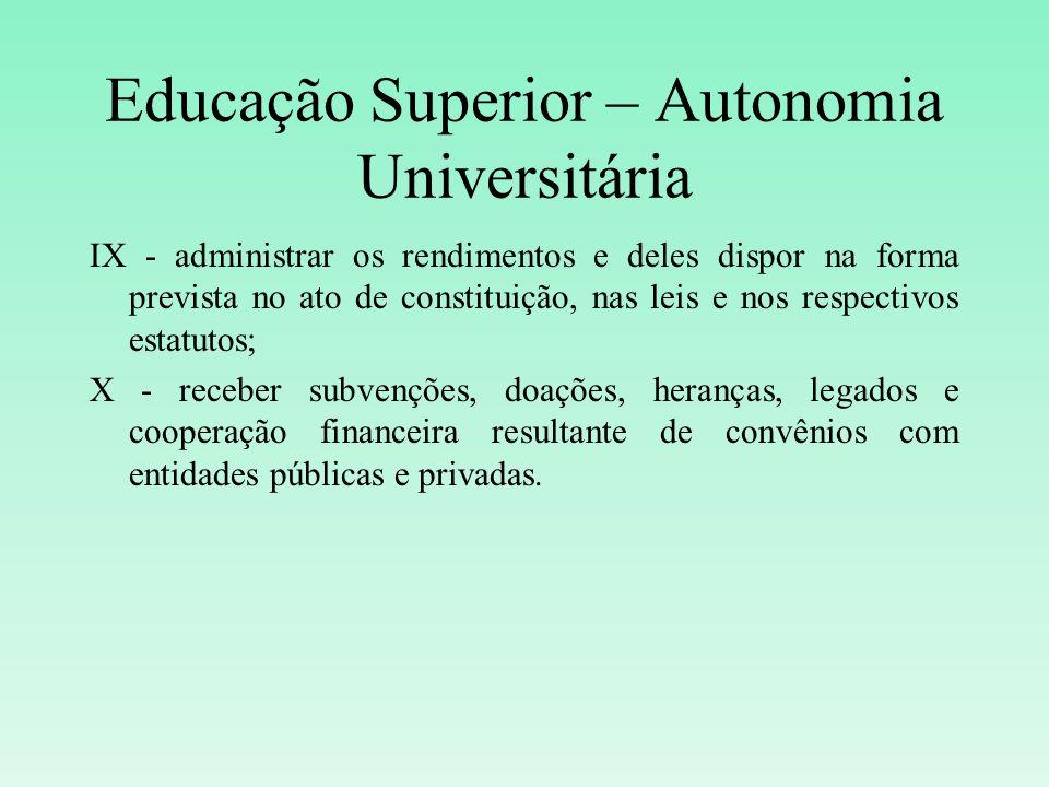 Educação Superior – Autonomia Universitária IX - administrar os rendimentos e deles dispor na forma prevista no ato de constituição, nas leis e nos re