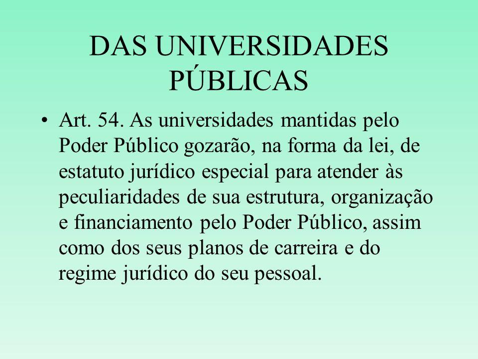 DAS UNIVERSIDADES PÚBLICAS Art. 54. As universidades mantidas pelo Poder Público gozarão, na forma da lei, de estatuto jurídico especial para atender