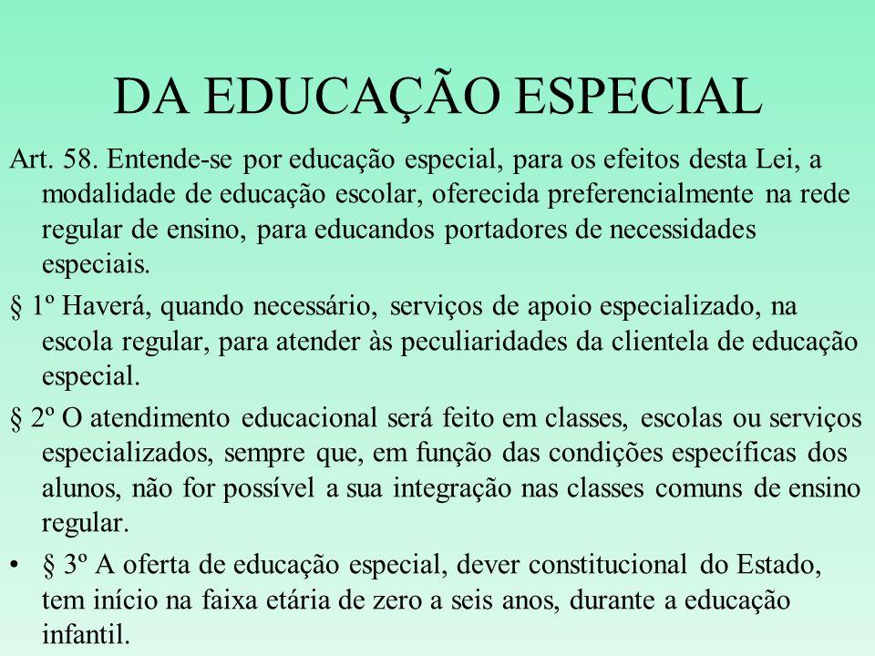DA EDUCAÇÃO ESPECIAL Art. 58. Entende-se por educação especial, para os efeitos desta Lei, a modalidade de educação escolar, oferecida preferencialmen