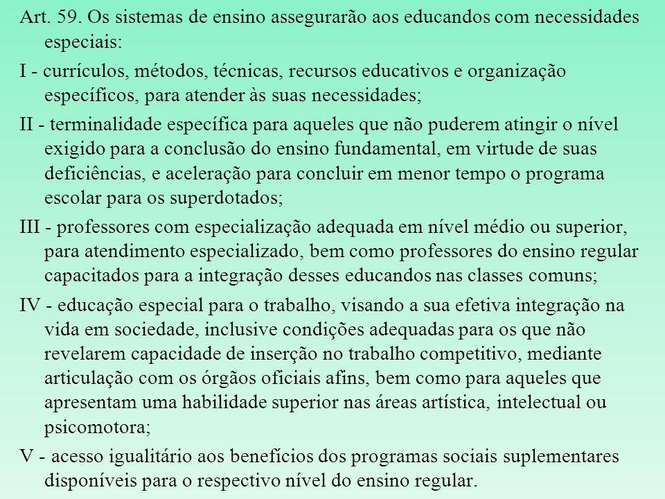 Art. 59. Os sistemas de ensino assegurarão aos educandos com necessidades especiais: I - currículos, métodos, técnicas, recursos educativos e organiza