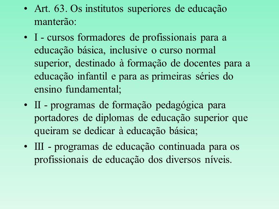Art. 63. Os institutos superiores de educação manterão: I - cursos formadores de profissionais para a educação básica, inclusive o curso normal superi