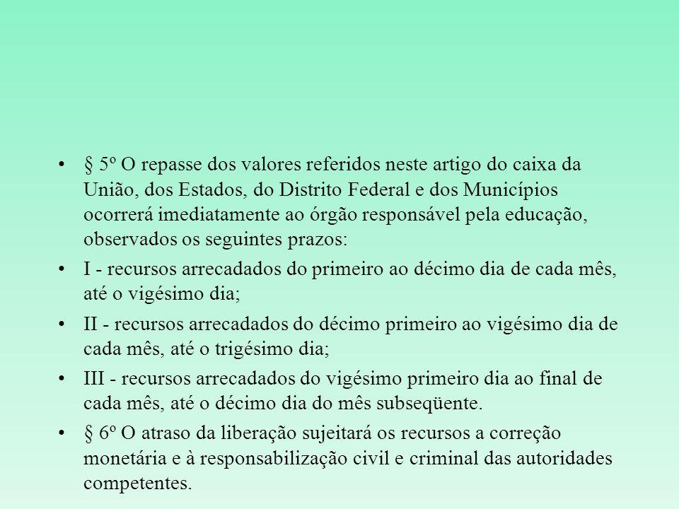 § 5º O repasse dos valores referidos neste artigo do caixa da União, dos Estados, do Distrito Federal e dos Municípios ocorrerá imediatamente ao órgão