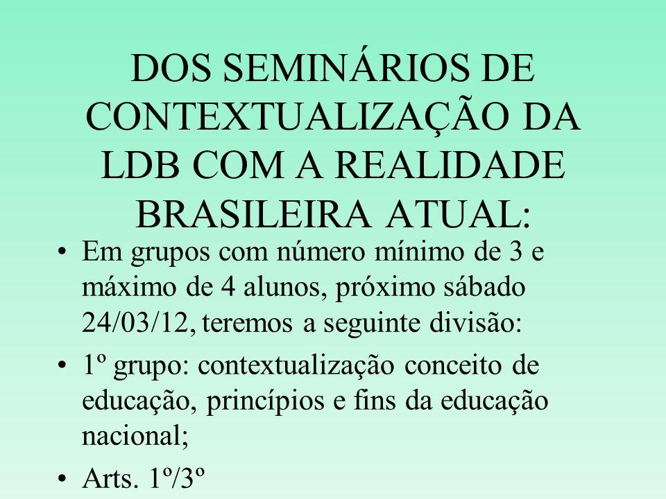 DOS SEMINÁRIOS DE CONTEXTUALIZAÇÃO DA LDB COM A REALIDADE BRASILEIRA ATUAL: Em grupos com número mínimo de 3 e máximo de 4 alunos, próximo sábado 24/0