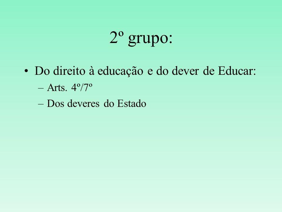 2º grupo: Do direito à educação e do dever de Educar: –Arts. 4º/7º –Dos deveres do Estado