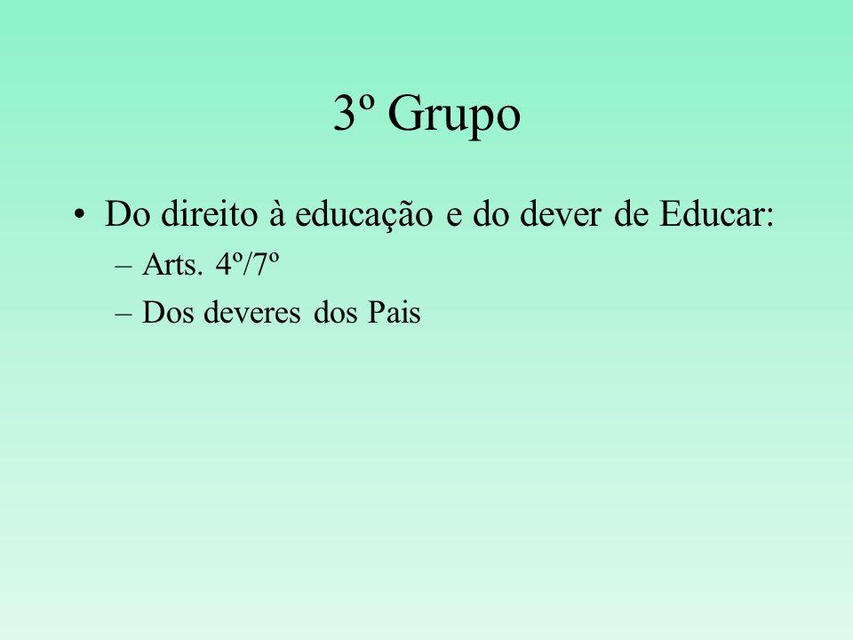 3º Grupo Do direito à educação e do dever de Educar: –Arts. 4º/7º –Dos deveres dos Pais