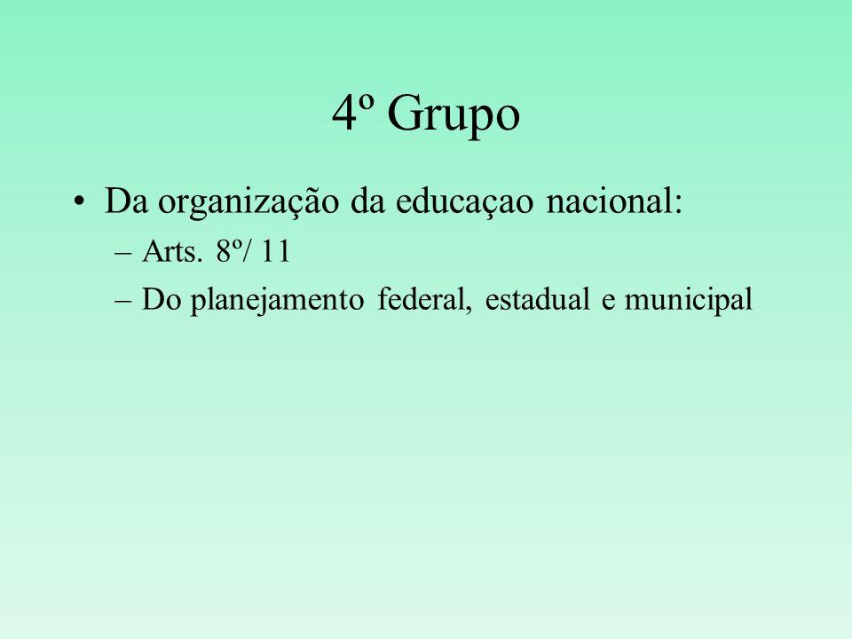 4º Grupo Da organização da educaçao nacional: –Arts. 8º/ 11 –Do planejamento federal, estadual e municipal