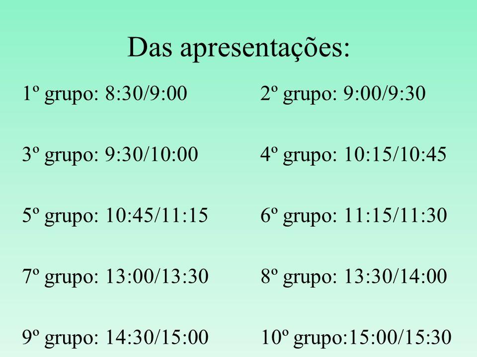 Das apresentações: 1º grupo: 8:30/9:002º grupo: 9:00/9:30 3º grupo: 9:30/10:004º grupo: 10:15/10:45 5º grupo: 10:45/11:156º grupo: 11:15/11:30 7º grup