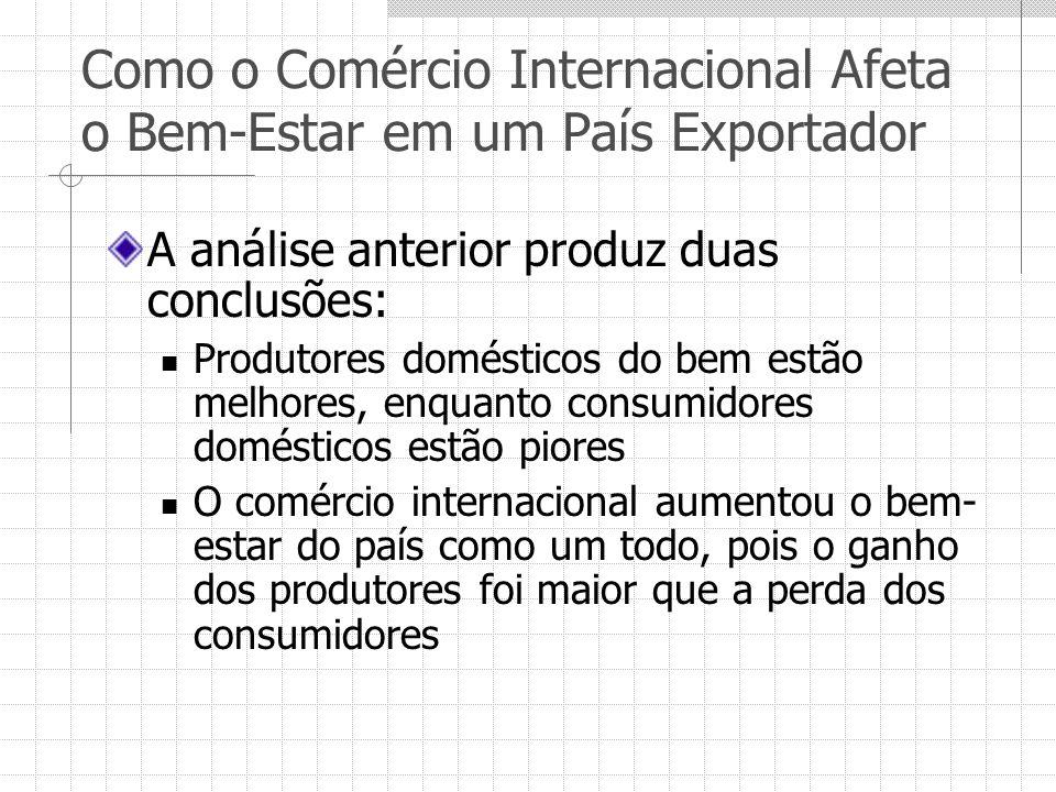 Como o Comércio Internacional Afeta o Bem-Estar em um País Exportador A análise anterior produz duas conclusões: Produtores domésticos do bem estão me