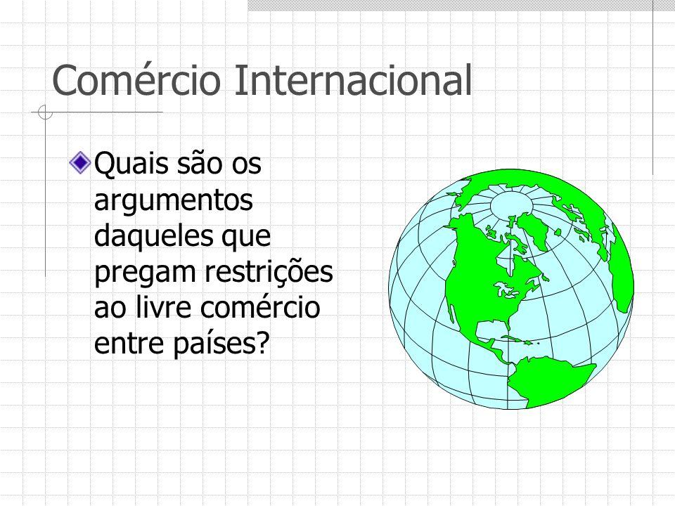 Comércio Internacional Quais são os argumentos daqueles que pregam restrições ao livre comércio entre países?