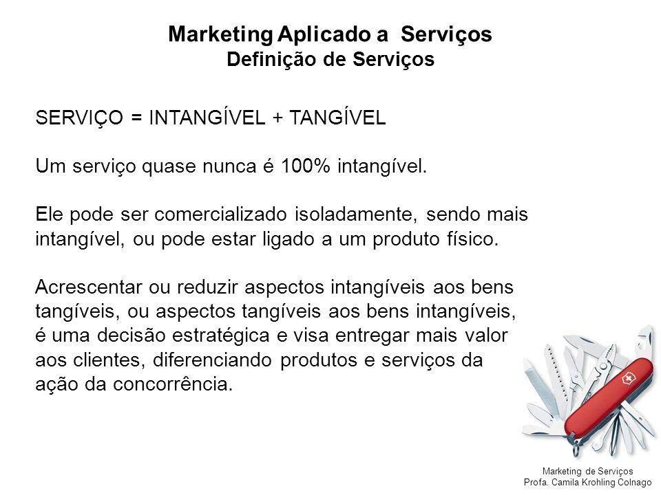 Marketing de Serviços Profa. Camila Krohling Colnago Marketing Aplicado a Serviços Definição de Serviços SERVIÇO = INTANGÍVEL + TANGÍVEL Um serviço qu