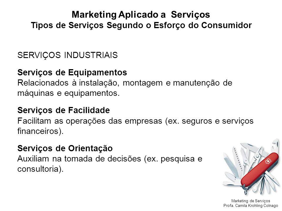 Marketing de Serviços Profa. Camila Krohling Colnago SERVIÇOS INDUSTRIAIS Serviços de Equipamentos Relacionados à instalação, montagem e manutenção de