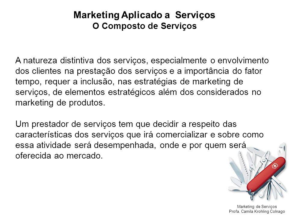 Marketing de Serviços Profa. Camila Krohling Colnago A natureza distintiva dos serviços, especialmente o envolvimento dos clientes na prestação dos se