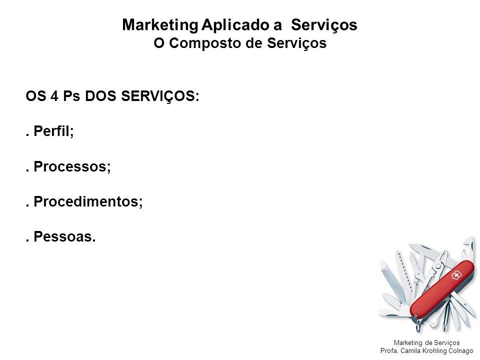 Marketing de Serviços Profa. Camila Krohling Colnago OS 4 Ps DOS SERVIÇOS:. Perfil;. Processos;. Procedimentos;. Pessoas. Marketing Aplicado a Serviço