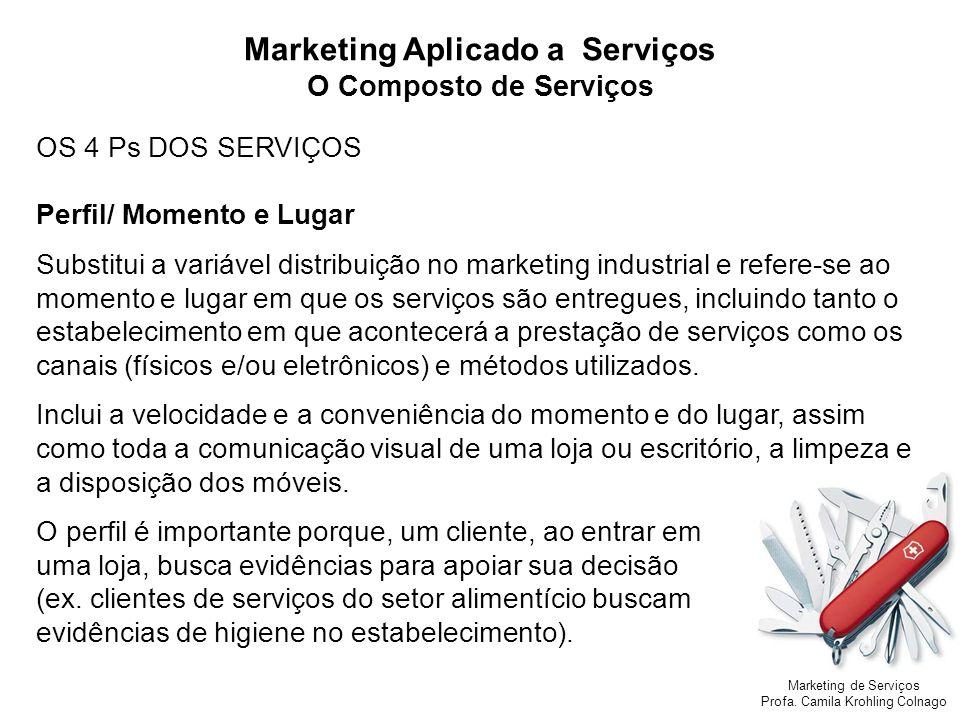 Marketing de Serviços Profa. Camila Krohling Colnago OS 4 Ps DOS SERVIÇOS Perfil/ Momento e Lugar Substitui a variável distribuição no marketing indus