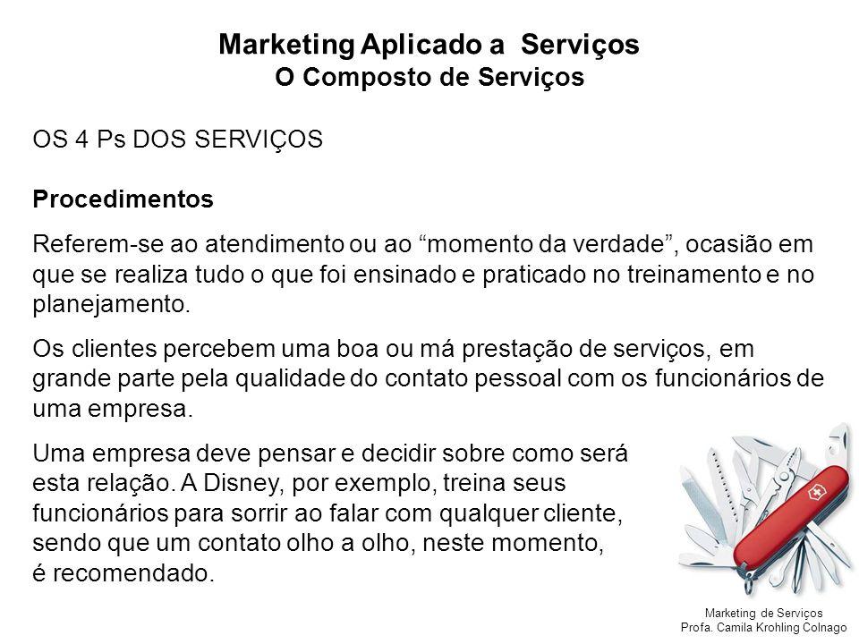 Marketing de Serviços Profa. Camila Krohling Colnago Marketing Aplicado a Serviços O Composto de Serviços OS 4 Ps DOS SERVIÇOS Procedimentos Referem-s
