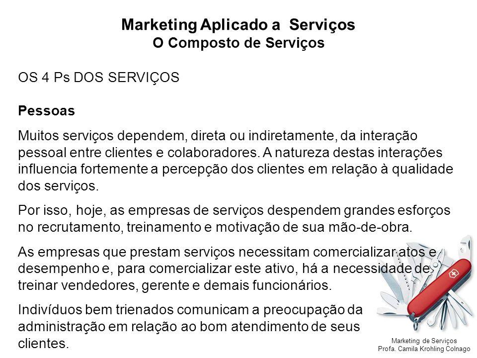 Marketing de Serviços Profa. Camila Krohling Colnago Marketing Aplicado a Serviços O Composto de Serviços OS 4 Ps DOS SERVIÇOS Pessoas Muitos serviços
