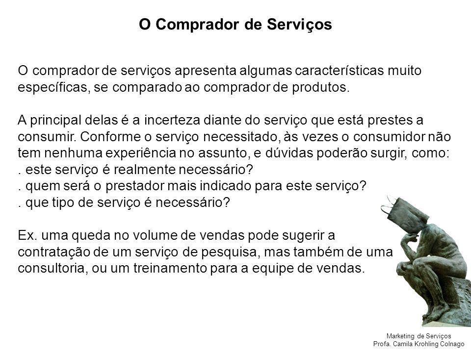 Marketing de Serviços Profa. Camila Krohling Colnago O Comprador de Serviços O comprador de serviços apresenta algumas características muito específic