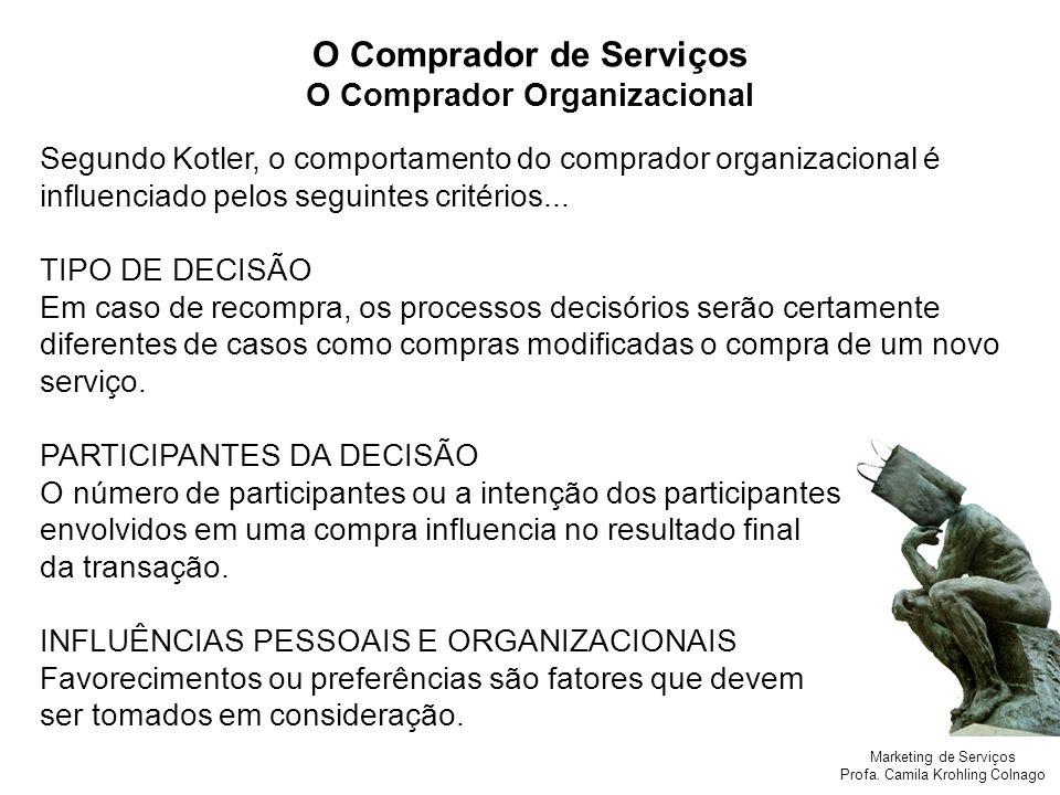 Marketing de Serviços Profa. Camila Krohling Colnago O Comprador de Serviços O Comprador Organizacional Segundo Kotler, o comportamento do comprador o