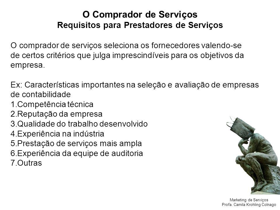 Marketing de Serviços Profa. Camila Krohling Colnago O Comprador de Serviços Requisitos para Prestadores de Serviços O comprador de serviços seleciona