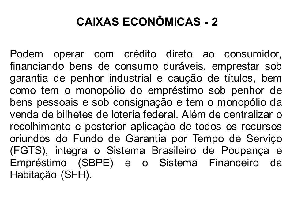 CAIXAS ECONÔMICAS - 2 Podem operar com crédito direto ao consumidor, financiando bens de consumo duráveis, emprestar sob garantia de penhor industrial