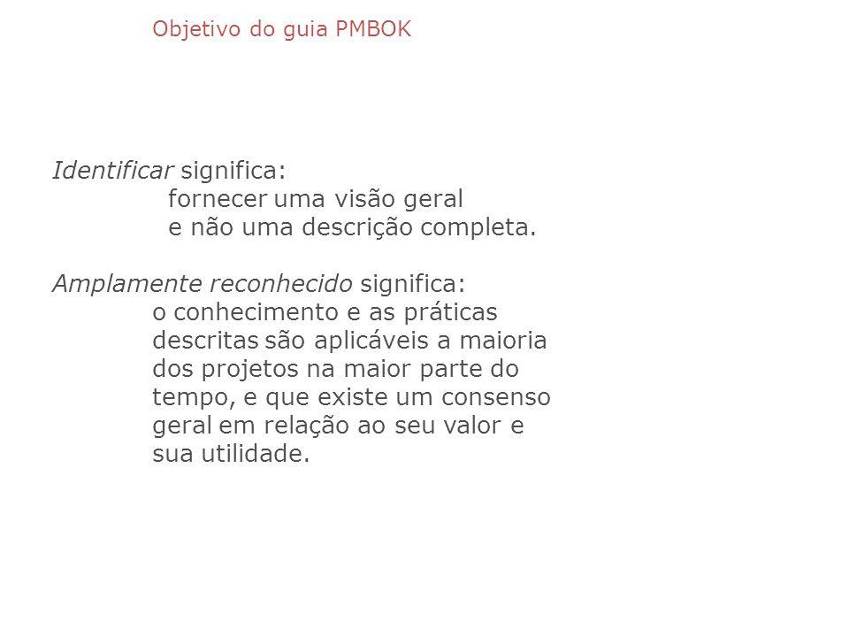 Objetivo do guia PMBOK Identificar significa: fornecer uma visão geral e não uma descrição completa. Amplamente reconhecido significa: o conhecimento