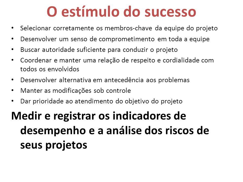 O estímulo do sucesso Selecionar corretamente os membros-chave da equipe do projeto Desenvolver um senso de comprometimento em toda a equipe Buscar au