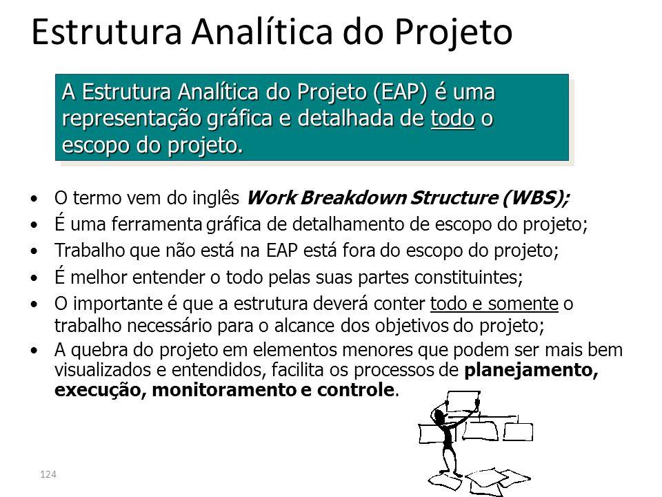 124 Estrutura Analítica do Projeto A Estrutura Analítica do Projeto (EAP) é uma representação gráfica e detalhada de todo o escopo do projeto. O termo
