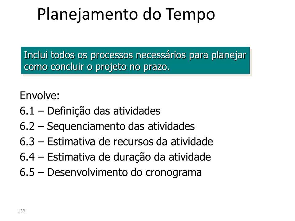 133 Planejamento do Tempo Inclui todos os processos necessários para planejar como concluir o projeto no prazo. Envolve: 6.1 – Definição das atividade