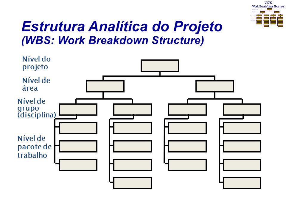 Estrutura Analítica do Projeto (WBS: Work Breakdown Structure) Nível do projeto Nível de área Nível de grupo (disciplina) Nível de pacote de trabalho