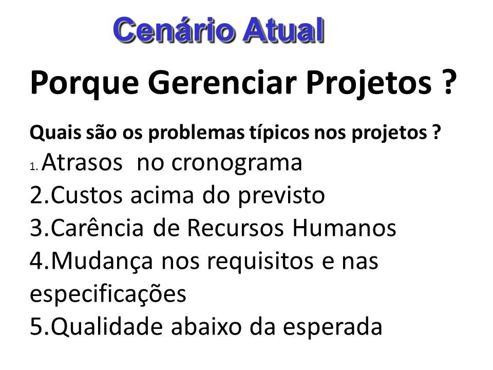 Cenário Atual Porque Gerenciar Projetos ? Quais são os problemas típicos nos projetos ? 1. Atrasos no cronograma 2.Custos acima do previsto 3.Carência