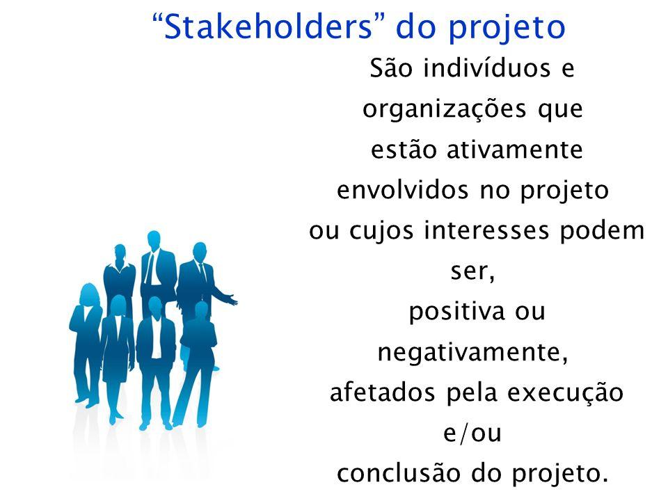 Stakeholders do projeto São indivíduos e organizações que estão ativamente envolvidos no projeto ou cujos interesses podem ser, positiva ou negativame
