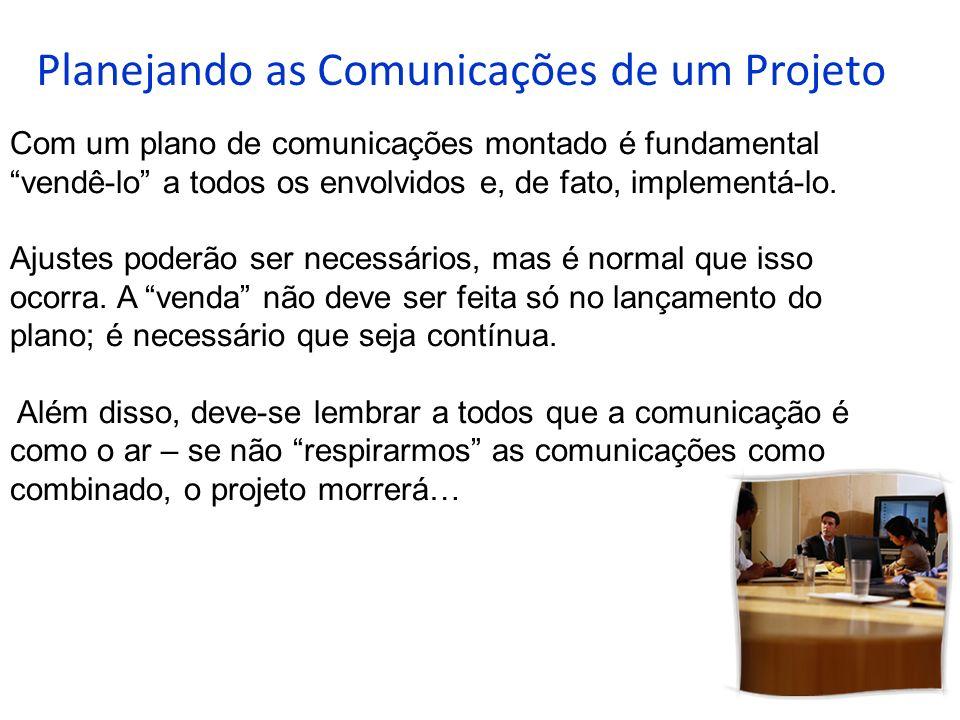 Planejando as Comunicações de um Projeto Com um plano de comunicações montado é fundamental vendê-lo a todos os envolvidos e, de fato, implementá-lo.