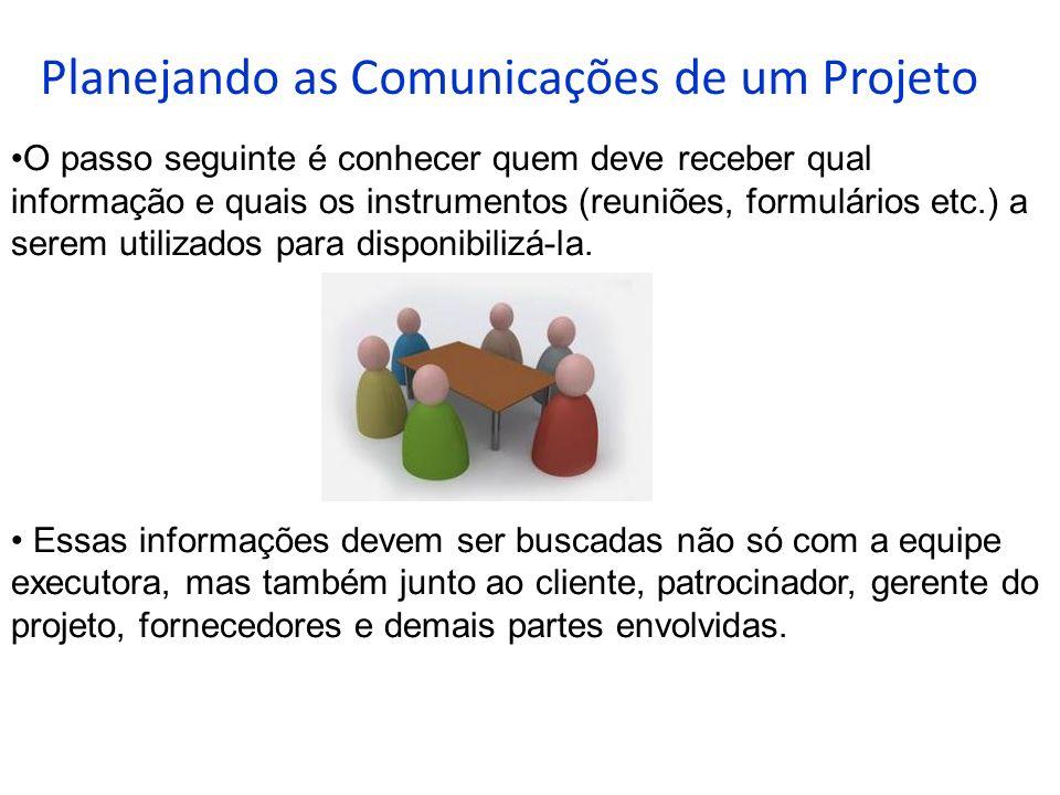 Planejando as Comunicações de um Projeto O passo seguinte é conhecer quem deve receber qual informação e quais os instrumentos (reuniões, formulários