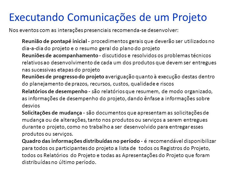 Executando Comunicações de um Projeto Nos eventos com as interações presenciais recomenda-se desenvolver: Reunião de pontapé inicial - procedimentos g