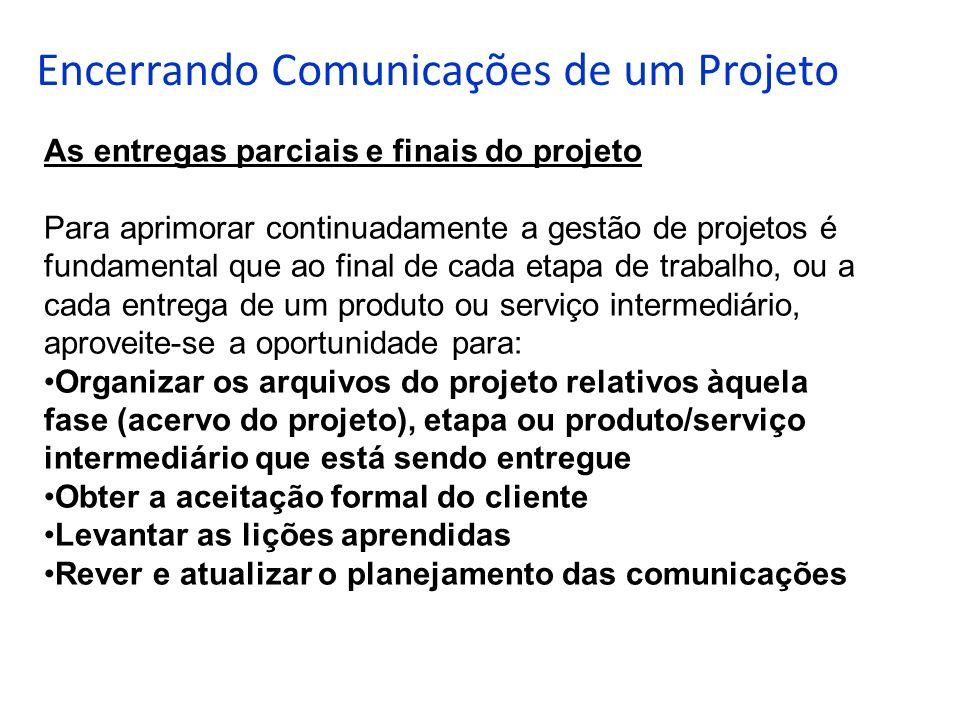 Encerrando Comunicações de um Projeto As entregas parciais e finais do projeto Para aprimorar continuadamente a gestão de projetos é fundamental que a