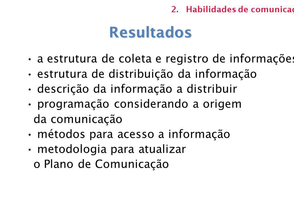 Resultados a estrutura de coleta e registro de informações estrutura de distribuição da informação descrição da informação a distribuir programação co