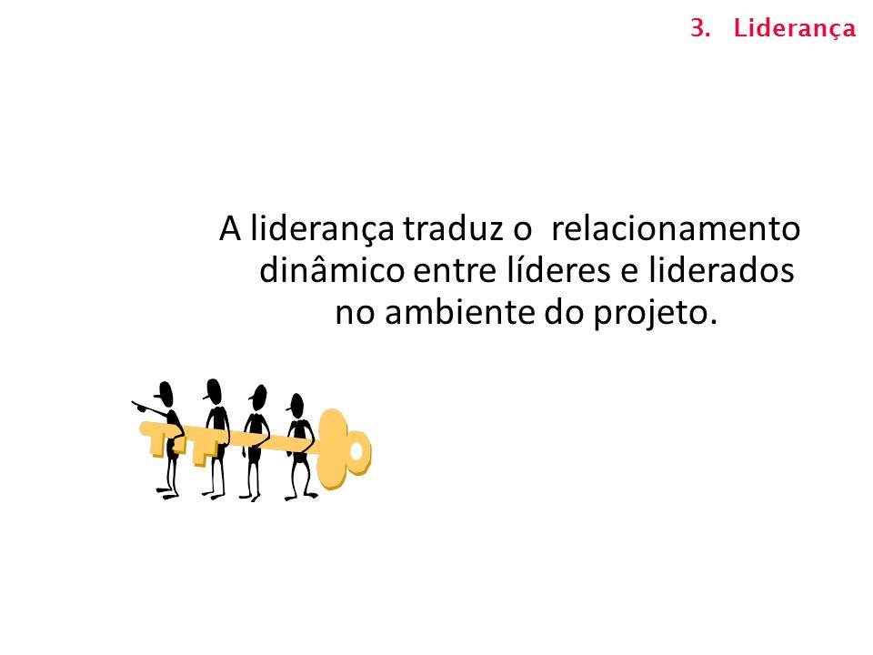 A liderança traduz o relacionamento dinâmico entre líderes e liderados no ambiente do projeto. 3.Liderança