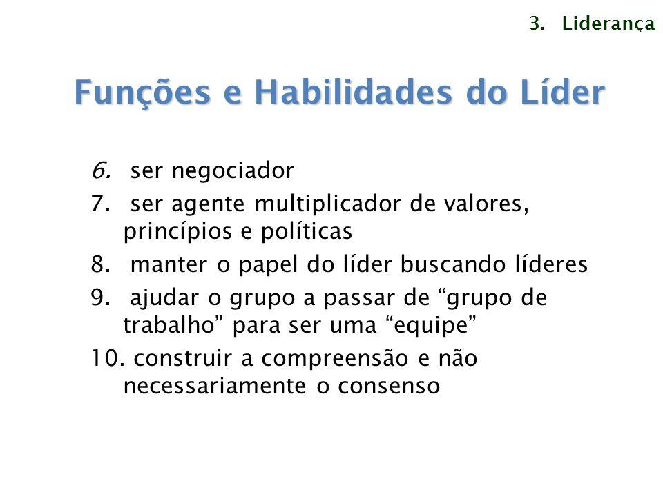 6. ser negociador 7. ser agente multiplicador de valores, princípios e políticas 8. manter o papel do líder buscando líderes 9. ajudar o grupo a passa