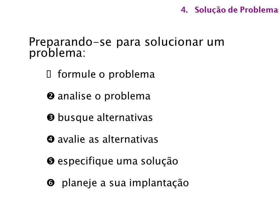 Preparando-se para solucionar um problema: formule o problema analise o problema busque alternativas avalie as alternativas especifique uma solução pl