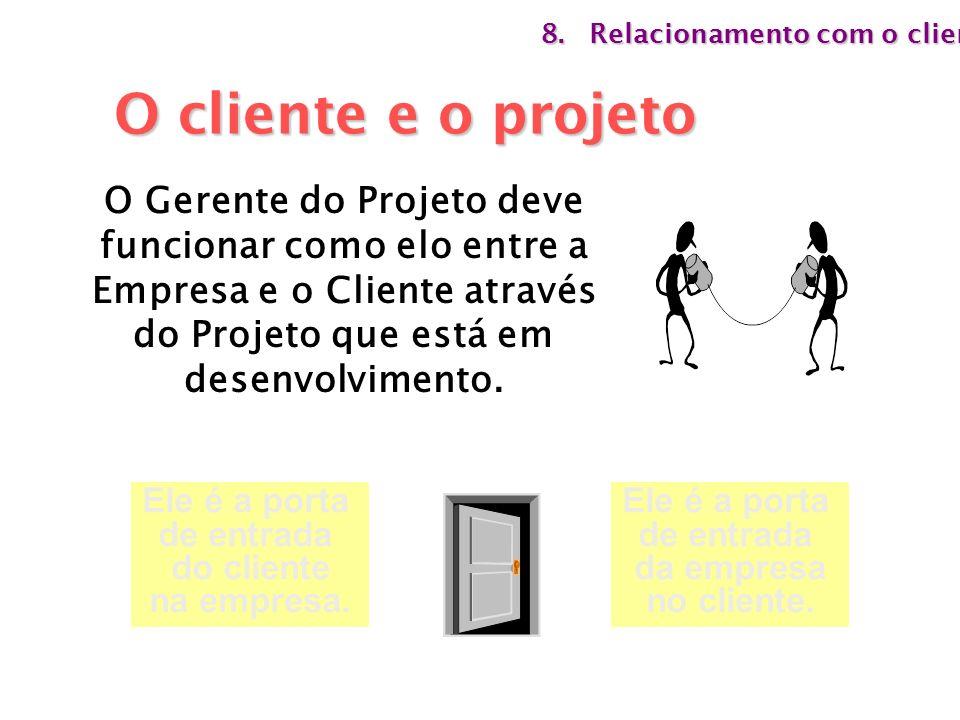 O Gerente do Projeto deve funcionar como elo entre a Empresa e o Cliente através do Projeto que está em desenvolvimento. Ele é a porta de entrada do c