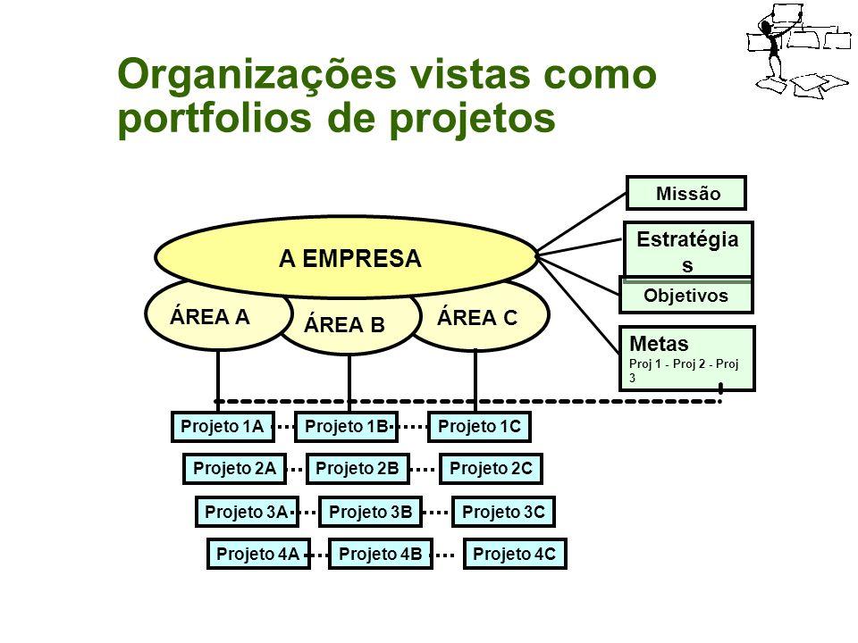 Organizações vistas como portfolios de projetos Organizações vistas como portfolios de projetos A EMPRESA ÁREA A ÁREA B ÁREA C Missão Estratégia s Obj