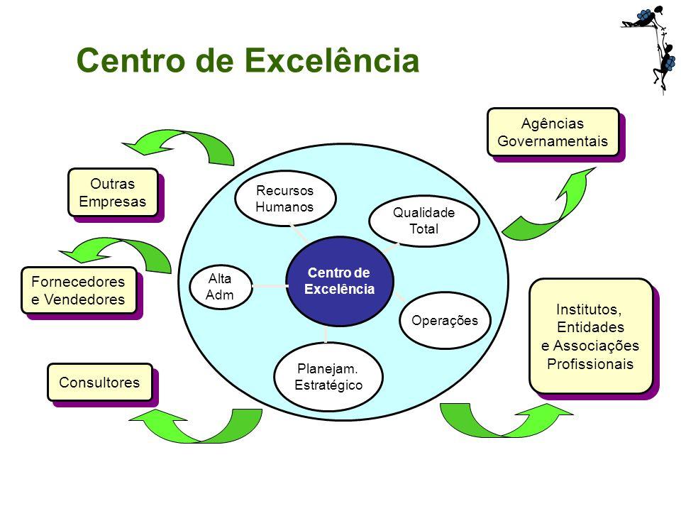 Centro de Excelência Qualidade Total Operações Planejam. Estratégico Alta Adm Recursos Humanos Outras Empresas Outras Empresas Fornecedores e Vendedor